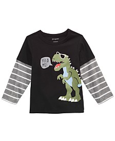 First Impressions Toddler Boys Dinosaur-Print Layered-Look Cotton T-Shirt, Created for Macy's