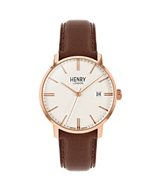 Unisex Regency Classic Analog White Dial Rose Gold Case Brown Leather Band Watch 40 mm