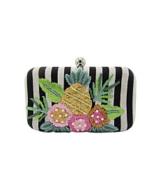 La Regale Weekend Stripe Pineapple Embroidered Minaudiere