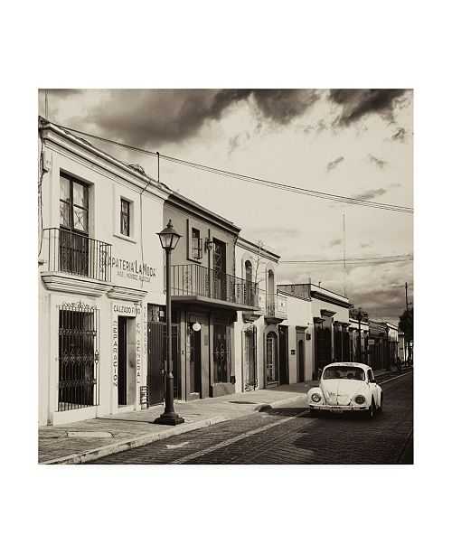 """Trademark Global Philippe Hugonnard Viva Mexico 3 Colorful Facades and White VW Beetle Car II Canvas Art - 36.5"""" x 48"""""""