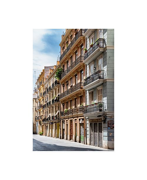 "Trademark Global Philippe Hugonnard Made in Spain Buildings Facades of Valencia III Canvas Art - 27"" x 33.5"""