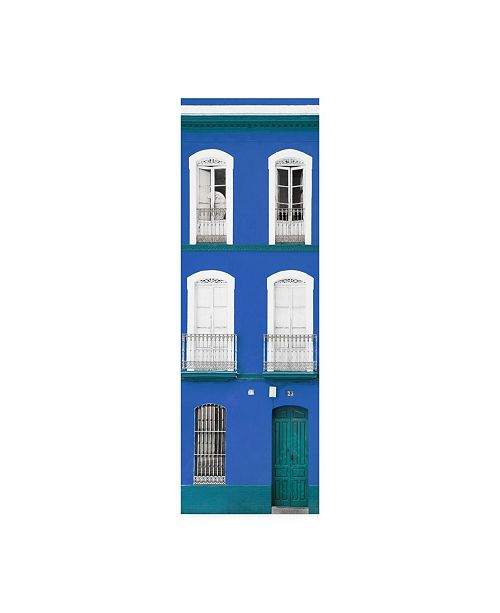 "Trademark Global Philippe Hugonnard Made in Spain 2 Blue Facade of Traditional Spanish Building Canvas Art - 36.5"" x 48"""