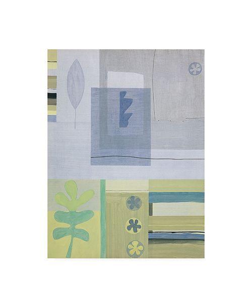 "Trademark Global Pablo Esteban Leaf and Flower in Green Canvas Art - 27"" x 33.5"""