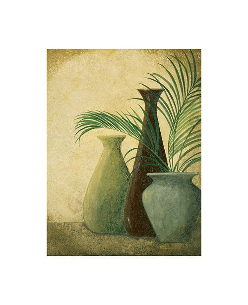 "Trademark Global Pablo Esteban Three Vases One with Greenery Canvas Art - 27"" x 33.5"""