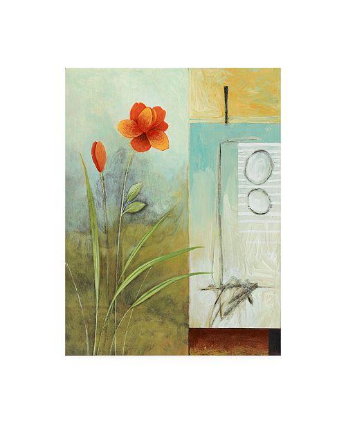 "Trademark Global Pablo Esteban Red Orange Flower Abstract Canvas Art - 36.5"" x 48"""