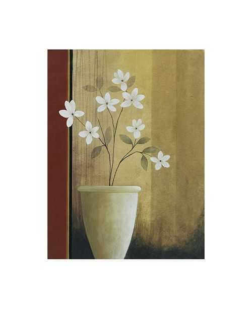 "Trademark Global Pablo Esteban White Flowers in Vase on Beige Canvas Art - 36.5"" x 48"""