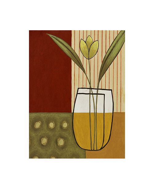 """Trademark Global Pablo Esteban Yellow Flower on Sage and Red Canvas Art - 19.5"""" x 26"""""""