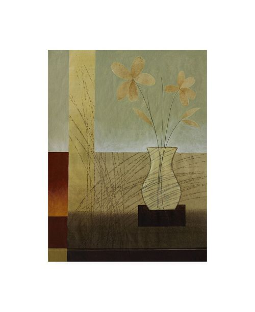 """Trademark Global Pablo Esteban Flowers in Vase and Scratches Canvas Art - 36.5"""" x 48"""""""