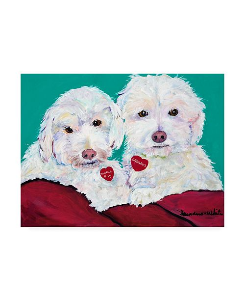 "Trademark Global Pat Saunders-White Tootsie Pup and Sqeakers Canvas Art - 15.5"" x 21"""