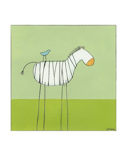"Trademark Global June Erica Vess Stick leg Zebra I Childrens Art Canvas Art - 15.5"" x 21"""