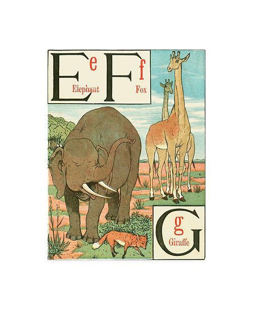 "Trademark Global Walter Crane Noahs Alphabet II Childrens Art Canvas Art - 15.5"" x 21"""