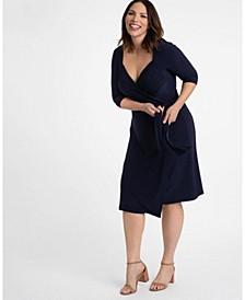 Women's Plus Size Sweetheart Knit Wrap Dress