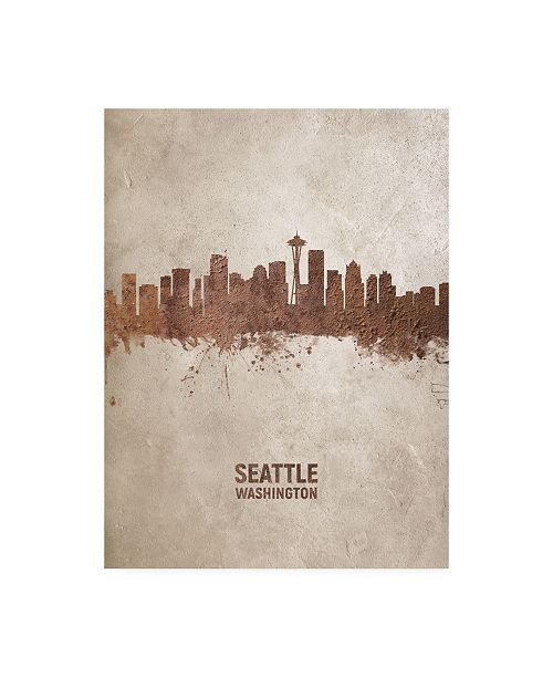 "Trademark Global Michael Tompsett Seattle Washington Rust Skyline Canvas Art - 27"" x 33.5"""