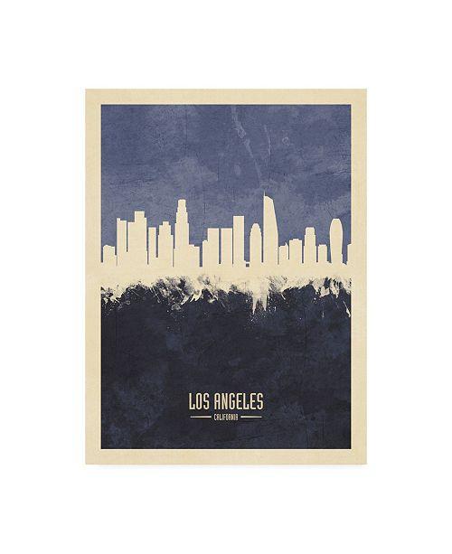 "Trademark Global Michael Tompsett Los Angeles California Skyline Navy Canvas Art - 27"" x 33.5"""