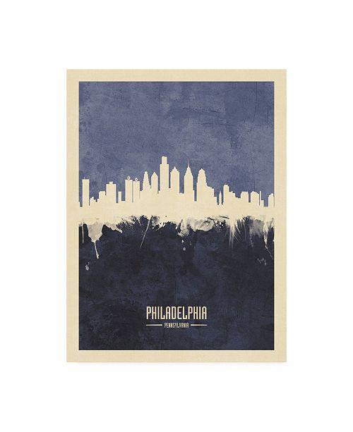 "Trademark Global Michael Tompsett Philadelphia Pennsylvania Skyline Navy Canvas Art - 27"" x 33.5"""