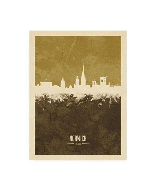 "Trademark Global Michael Tompsett Norwich England Skyline Brown Canvas Art - 27"" x 33.5"""