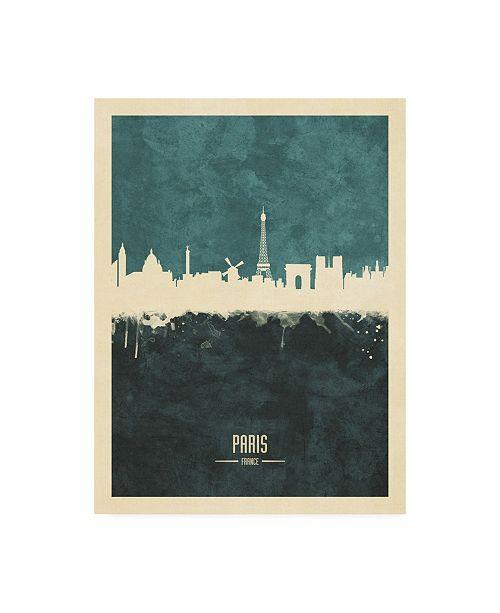 "Trademark Global Michael Tompsett Paris France Skyline Teal Canvas Art - 27"" x 33.5"""