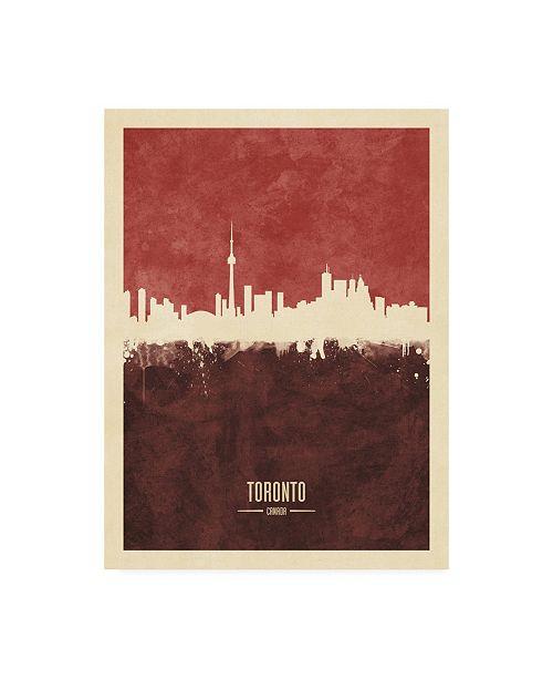 "Trademark Global Michael Tompsett Toronto Canada Skyline Red II Canvas Art - 15.5"" x 21"""