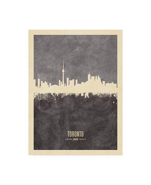 "Trademark Global Michael Tompsett Toronto Canada Skyline Gray Canvas Art - 27"" x 33.5"""