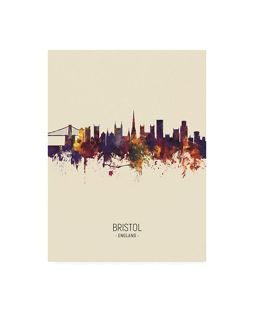"Trademark Global Michael Tompsett Bristol England Skyline Portrait III Canvas Art - 27"" x 33.5"""