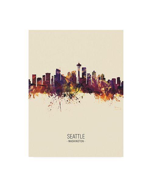 """Trademark Global Michael Tompsett Seattle Washington Skyline Portrait III Canvas Art - 36.5"""" x 48"""""""