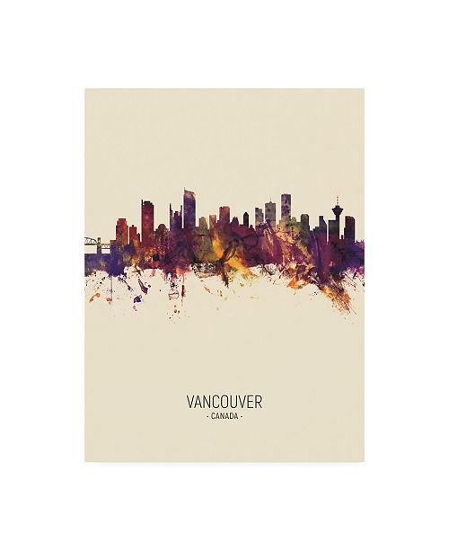 "Trademark Global Michael Tompsett Vancouver Canada Skyline Portrait III Canvas Art - 36.5"" x 48"""