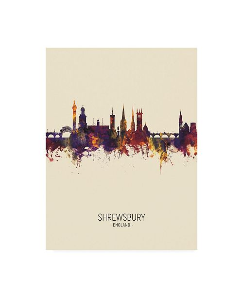 "Trademark Global Michael Tompsett Shrewsbury England Skyline Portrait III Canvas Art - 19.5"" x 26"""