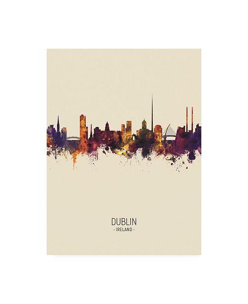 "Trademark Global Michael Tompsett Dublin Ireland Skyline Portrait III Canvas Art - 36.5"" x 48"""
