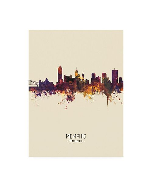 "Trademark Global Michael Tompsett Memphis Tennessee Skyline Portrait III Canvas Art - 19.5"" x 26"""
