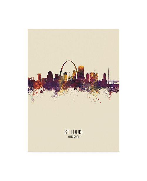 "Trademark Global Michael Tompsett St Louis Missouri Skyline Portrait III Canvas Art - 19.5"" x 26"""