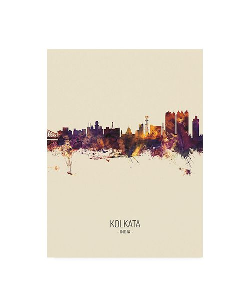 "Trademark Global Michael Tompsett Kolkata (Calcutta) India Skyline Portrait III Canvas Art - 36.5"" x 48"""