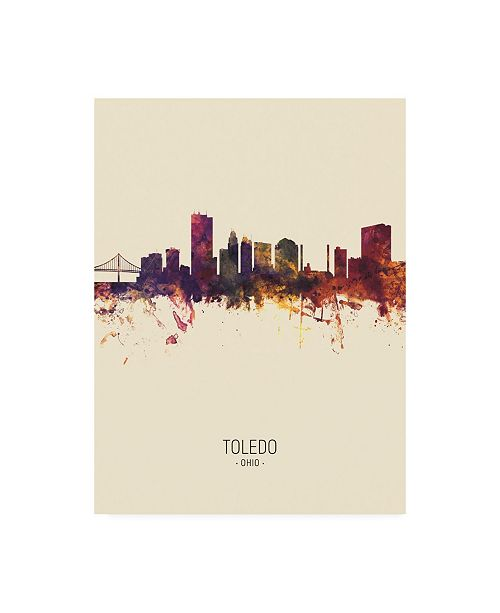 "Trademark Global Michael Tompsett Toledo Ohio Skyline Portrait III Canvas Art - 19.5"" x 26"""