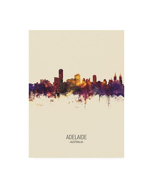 "Trademark Global Michael Tompsett Adelaide Australia Skyline Portrait III Canvas Art - 19.5"" x 26"""