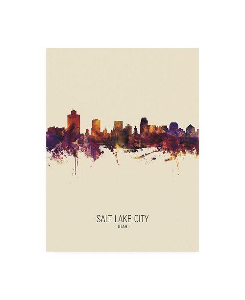 "Trademark Global Michael Tompsett Salt Lake City Utah Skyline Portrait III Canvas Art - 36.5"" x 48"""