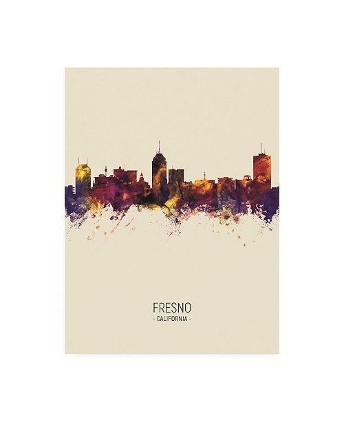 "Trademark Global Michael Tompsett Fresno California Skyline Portrait III Canvas Art - 36.5"" x 48"""