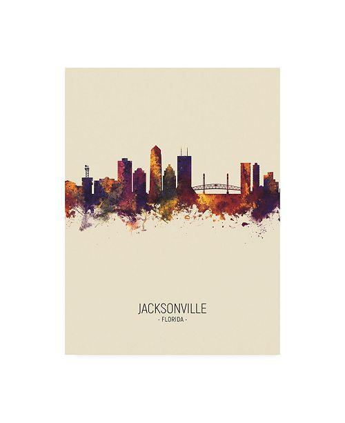 "Trademark Global Michael Tompsett Jacksonville Florida Skyline Portrait III Canvas Art - 15.5"" x 21"""