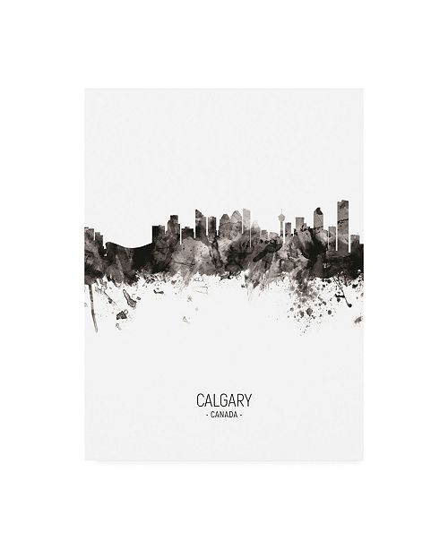 "Trademark Global Michael Tompsett Calgary Canada Skyline Portrait II Canvas Art - 19.5"" x 26"""