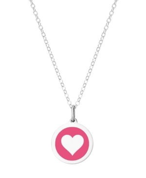Mini Heart Pendant Necklace in Sterling Silver and Enamel