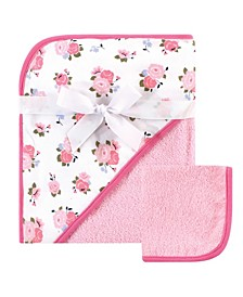 Hooded Towel and Washcloth Set, Floral