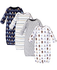 Luvable Friends Cotton Gowns, Tribe, 4 Pack, 0-6 Months