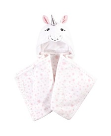 Hudson Baby Hooded Plush Blanket, White Unicorn