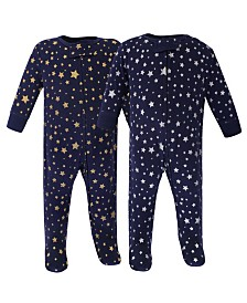 Hudson Baby Zipper Sleep N Play, Metallic Stars, 2 Pack, 0-3 Months