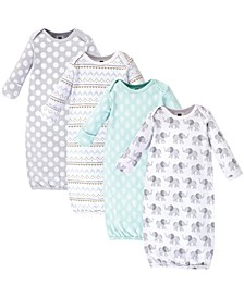 Cotton Gowns, Gray Elephant, 4 Pack, 0-6 Months