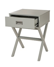 Gray Wooden X-Leg End Table with 1 Drawer