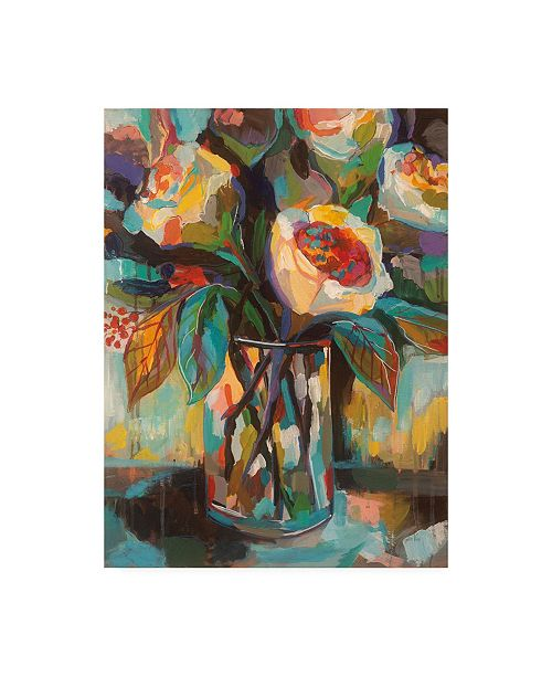 """Trademark Global Jeanette Vertentes Stained Glass Floral Canvas Art - 19.5"""" x 26"""""""