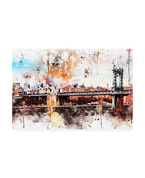 "Trademark Global Philippe Hugonnard NYC Watercolor Collection - the Manhattan Bridge Canvas Art - 15.5"" x 21"""