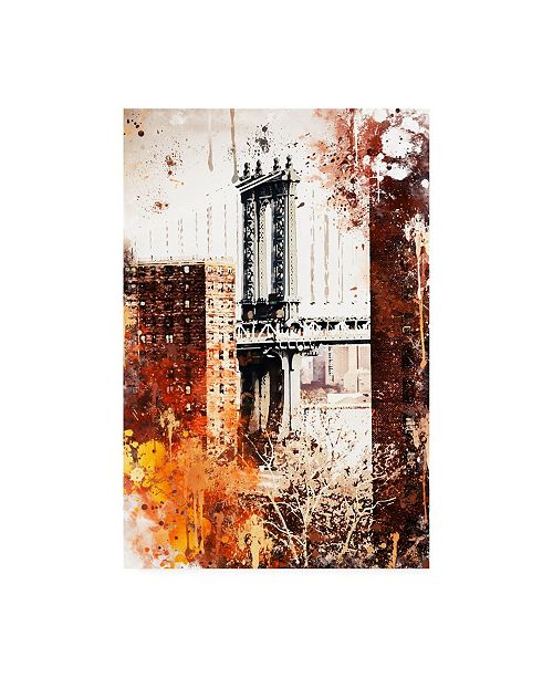 "Trademark Global Philippe Hugonnard NYC Watercolor Collection - Manhattan Bridge Canvas Art - 15.5"" x 21"""