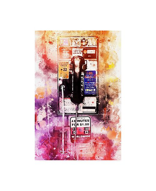 "Trademark Global Philippe Hugonnard NYC Watercolor Collection - US Public Phone Canvas Art - 36.5"" x 48"""