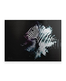 "Philippe Hugonnard Wild Explosion Collection - the Zebra Floating Brushed Aluminum Art - 21"" x 25"""