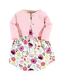 Organic Cotton Dress and Cardigan Set, Botanical, 5 Toddler